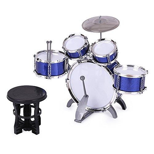 ammoon Niños Percusión de Grupo Instrumento Musical del Juguete 5 Tambores Pequeño Platillo con Heces Baquetas para Niños Niñas