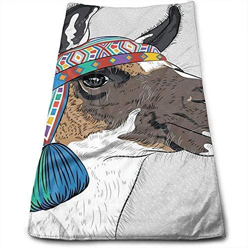 Bert-Collins Towel Alpaga avec Un Chapeau coloré Ethnique Personnalité Plaisir Motif Serviettes de Toilette Fibre Superfine Super Absorbant Serviettes de Gymnastique Douces