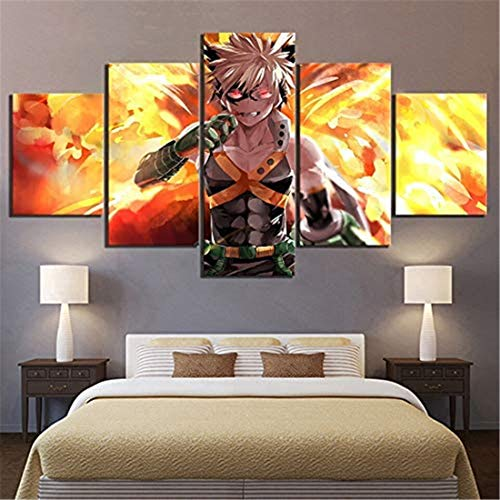 Surfilter Canvas Prints Wall Art 5 Pieces My Hero Academia Anime Poster Home Decoration Painting Modular Picture Living Room Frame (No Frame)