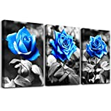 bedroom Wall Art for living room bathroom Wall Decor for kitchen family pictures artwork Black and white Blue rose flowers Canvas paintings 12' x 16' 3 Pieces framed Modern office Home decorations