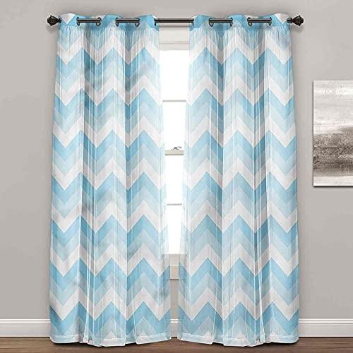 Cortinas de bloqueo de luz, Chevron, Sealife Aqua Zig Zag, cortinas de granja para sala de estar (2 paneles de ancho x largo de 96 pulgadas)