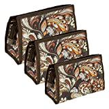 TULMAN Set of 3 Peacock Pattern Synthetic Travel & Cosmetic Pouch - Blue (Designer Pouch-Brown)