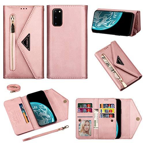 Shinyzone Funda de piel sintética con cremallera para Samsung Galaxy S20 FE, bandolera, cadena para teléfono móvil, cartera con tarjetero, cadena cruzada, cadena, color oro rosa