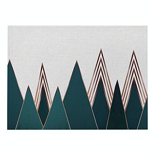 Z-LIANG Geometric Patterns Simple Style Distinctive Placemat Table Napkin Dining Table Mat Bowls Drink Coasters Kitchen Accessories Decoration (Color : CD011 7, Size : Polyester Hemp)