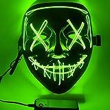 Ptsaying Maschera di Halloween, Maschera di spurgo a LED, Maschera di Halloween Spaventosa Maschera di Halloween per Adulti, Uomini e Donne. (Verde)