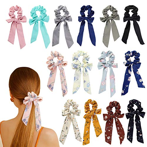 Wooyaya 14Pcs Chiffon Hair Scrunchies Bowknot Ribbon Elastics Hair Bands Scrunchy Flowers and Solid Colors Hair Rope Ties Hair Bow Ponytail Holder Accessories for Women Girls