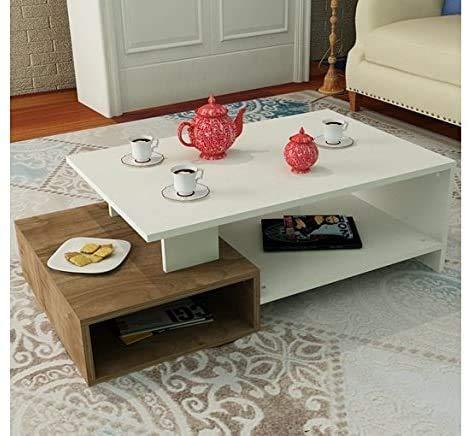 Moderner Couchtisch mit Regalen, Wohnzimmer Kurzer Couchtisch - Holz - Sofa Couchtisch, white/walnut