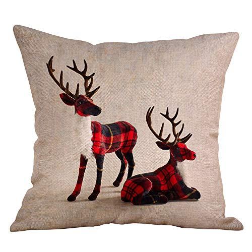 Huazi2 Christmas Moose Linen Pillowcase, Festival Sofa Waist Throw Cushion Cover Home Decor
