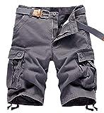 APTRO Men's Cargo Shorts Relaxed Fit Multi-Pockets Outdoor Casual Shorts Light Grey 40