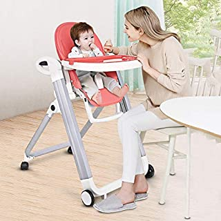 Baby High Chair, Adjustable, Folding Highchairs with 9 Different Heights, Adjustable Seat and 5 Different Positions, Remov...