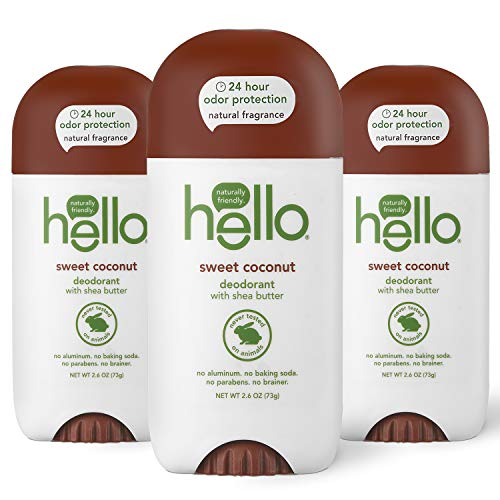 hello Sweet Coconut Deodorant With Shea Butter for Women + Men, 24 Hour Odor Protection, No Aluminum + No Baking Soda, Vegan & Parabens Free, 2.6oz, 3 count