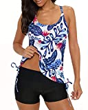 Yonique Strappy Floral Tankini Swimsuits for Women with Shorts Blue Drawstring Bathing Suits Two Piece Swimwear S
