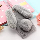 For iPhone 7 Case 3D Cute Rabbit Hairy Warm Fur Bling Rhinestone Plush Bunny Case Cover for iPhone XS 4 4S 5 5S SE 5C 6 6S 8Plus - (Color: light gray, Material: for iPhone X) -  OTADO