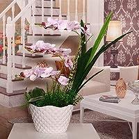 HLL 人工花、ホームバタフライオーキッドフェイク装飾人工シルクフラワーベースパープルバタフライオーキッド