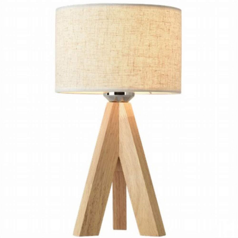 Tischlampe mit Stoff Leinenschirm Wohnzimmer Holzstativ Nachtlicht f/ür Schlafzimmer B/üro Kleine Nachttischlampe