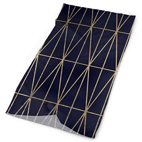 Nonebrand Moderno patrón de triángulos geométricos de oro azul marino acuarela multifuncional headwear elástico exterior cuello transpirable protección UV máscara calentador de cara pulsera para todo el año