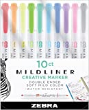 Zebra Pen Mildliner, Double Ended Highlighter, Broad and Fine Tips, Assorted Colors, 10 Pack
