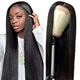 4X4 Lace Front Wigs Straight Human Hair Wigs Brazilian Human Hair Lace Closure Wigs for Black Women with Baby Hair 150% Density Pre Plucked Natural Color (22 inch)