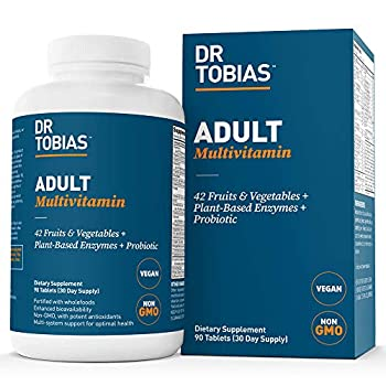 Dr Tobias Adult Multivitamin Supplement Made with 42 Fruits & Vegetables Added Probiotics Vegan & Non-GMO Multivitamins for Adults Men & Women Supports Energy Metabolism & Immune System- 90 Capsules 3 Daily