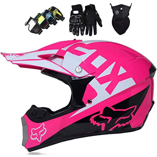 Casco MTB de cara completa con máscara, guantes y gafas, Casco de motocross para niños y adultos con diseño de Fox, Juego de casco de moto para motocicleta Downhill Enduro Off-Road Dirt Bike, DOT