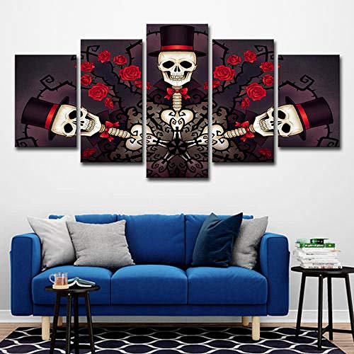 Gtart Mehrteilige Wandbilder Groß Bild Leinwand Bilder Wohnzimmer Modern Wandbilder Kunstdrucke Leinwandbilder XXL 5 Teilig Wandbild Schlafzimmer Abstract Colorful Skull Poster