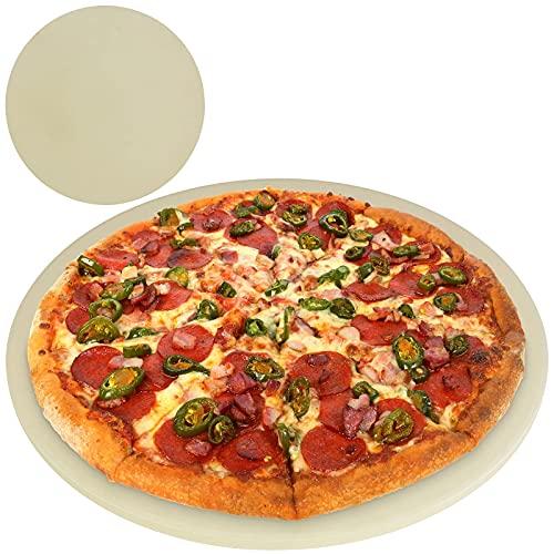 TW24 BBQ Pizzastein Cordierit rund Grillstein Pizza Flammkuchen Backstein Grill Backofen Brotbackstein Pizzaplatte