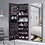AOOU Gabinete organizador de joyas, espejo grande de visualización completa, espejo de longitud completa, armario joyero para maquillaje con espejo, de gran capacidad (marrón)
