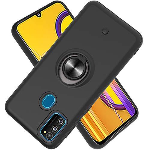 FAWUMAN Funda para Samsung Galaxy M30S Soft TPU + Duro PC Doble Parachoques,Giroscopio Rotatorio,Botón de Descompresión, con Soporte de Anillo Funda Protectora Serie -Negro