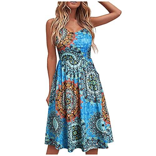 Vestidos para mujer elegante cuello en V Bohemia Leopard Spaghetti Strap Verano Casual sin mangas Floral Party Beach Swing Dress