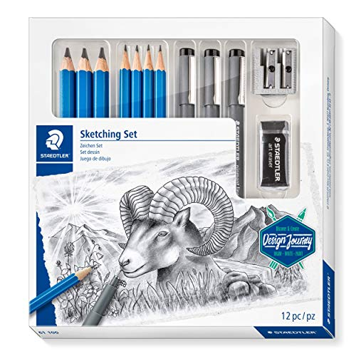 STAEDTLER Zeichen Set, Komplett-Set mit 4 Premium Bleistiften, 3 Premium Jumbo-Bleistiften, 3 schwarzen Finelinern, 1 Radierer, 1 Doppel-Spitzer und Step-by-Step Anleitungen, 61 100