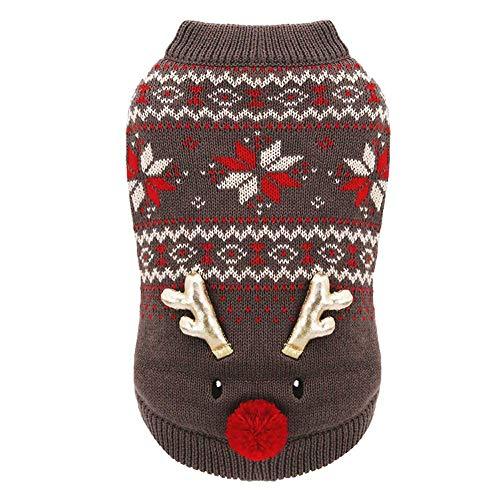 GBY Kerst huisdier hond en hond kleding, hondenkleding verdikking kerstjurk, huisdier hond kleding, winter kleding twee voeten dubbel katoen, Medium, Koffie