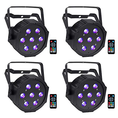 LED Par Lights, YeeSite 70W RGBW LED Par Can by Remote and DMX Control, LED Uplighting for Wedding DJ Party Stage Lighting - 4 Pack