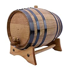 Handcrafted American White Oak Wood Barrel | Varnished Wood Black Steel Hoops | Medium Charred Interior | 5 Liters American Oak Aging Barrel | Barrel Capacity is an approximate Perfect to age your own spirits, whiskey, wine, beer, rum, tequila, honey...