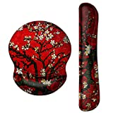 ArtSo Upgraded Wrist Rest Support for Mouse Pad & Keyboard, Ergonomic Gel Mousepad Non-Slip Rubber Base Home ,Office Pain Relief, Easy Typing Cushion Neoprene, Soft Memory Foam, Red Van Gogh Painting