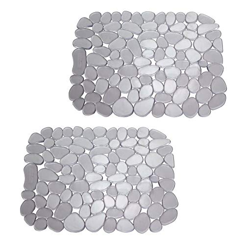 mDesign Set da 2 Tappetino lavello in PVC – Perfetto per proteggere il lavandino cucina dai graffi – Utilizzabile anche come tappetino scolapiatti – grafite