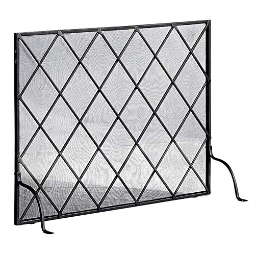 Lowest Price! WJMLS Black Fireplace Screen,Single Panel Spark Guard Safety See Through, Wrought Ir...