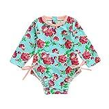 Body Bañador para Bebé Niñas, Protección Solar Traje de baño Bebes Niños Niñas Infantil bañador de Natación Camiseta de Natación Manga Larga Verde 3-4 años