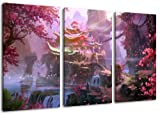 Fantasyworld 3-teilig auf Leinwand- Gesamtformat: 120x80 cm fertig gerahmte Kunstdruckbilder als Wandbild - Billiger als Ölbild oder Gemälde - KEIN Poster oder Plakat