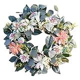 Foshan Cgration - Ghirlanda artificiale da appendere alla porta, ornamento per piante grasse e fiori, decorazione per la casa e il giardino