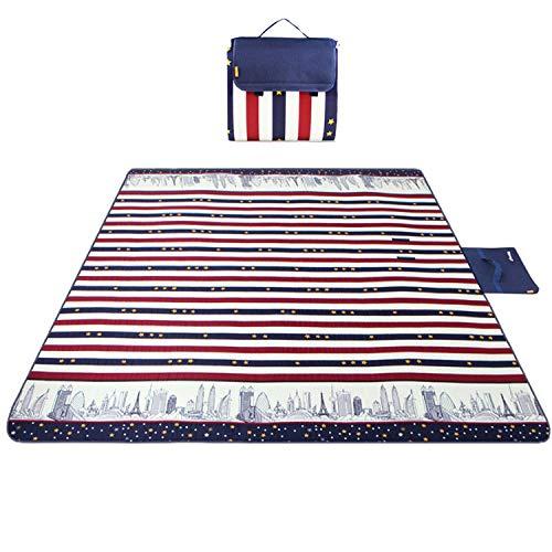 Freetrekker 200 x 200 cm XXL Picknickdecke Fleece wärmeisoliert Wasserdicht mit Tragegriff Outdoordecke (Rot-blau-weiß-Sterne gestreift)