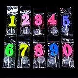 SIMUR Velas de cumpleaños de 0 a 9, velas de números moldeadas para fiestas, hora especial, día divertido, multicolor, 20 unidades