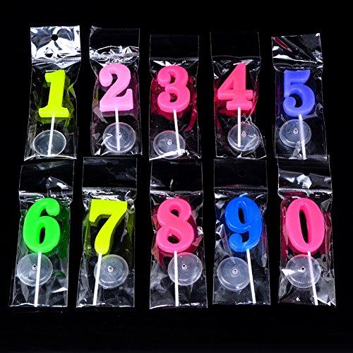 SIMUR Velas de cumpleaños 0-9 Moldeadas con números para fiestas, día especial, divertidas velas de deseo, multicolor, 20 unidades