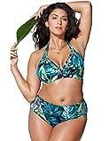 Chuangminghangqi - Bikini acolchado de cintura alta, tallas grandes, traje de baño de dos piezas, estampado y bordado, para natación y playa Verde-1295 3XL
