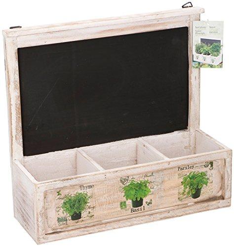 Jardinière vintage en bois blanc à 3 compartiments avec tableau noir