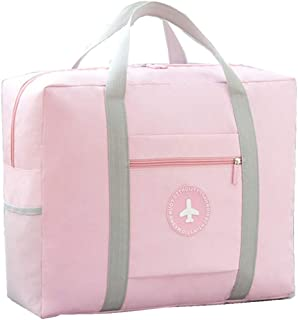 PAXLamb Carry-Ons Folding Flight Bag Travel Duffel Bag Foldable Travel Luggage Bag Lightweight Travel Luggage Duffle Tote Bag Waterproof Luggage Organizer Storage Carry-on Bag (Pink)