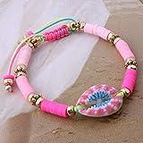 ZMMZYY Bracciale in Pietra,Fashion Rosa Perline di Argilla Bracelete Shell Manuale di nazionalità Bohemia Bangle Accessori di Gioielli