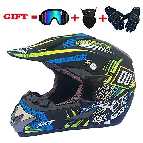 NKFDLY Casco de motocross con gafas, para cuatro estaciones, unisex, casco de...