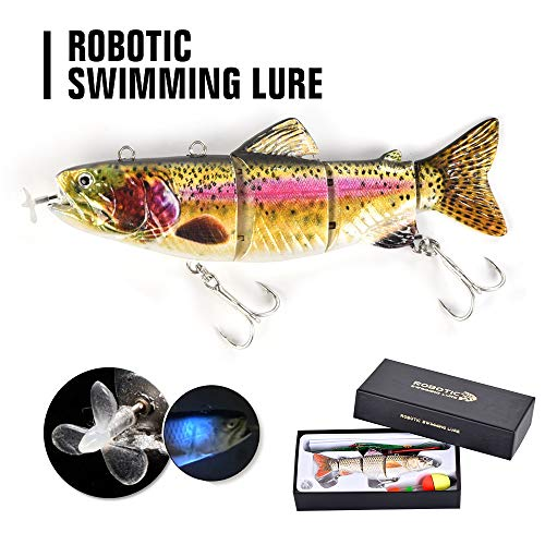 "Robotic Swimming Fishing Electric Lures 5.12"" USB Rechargeable LED Light 4-Segement Wobbler Multi Jointed Swimbaits Hard Lures Fishing Tackle"