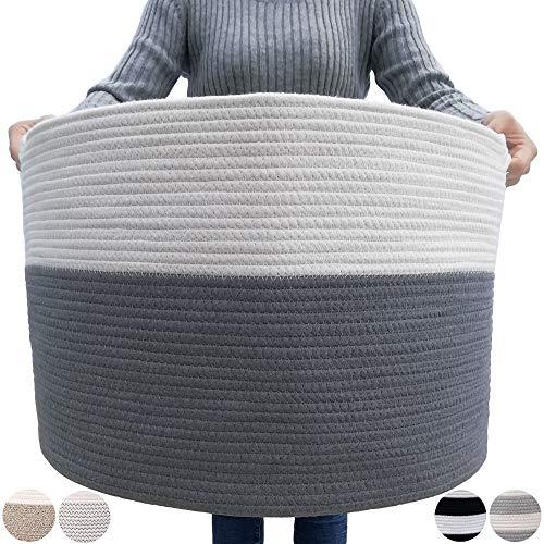 GOCAN Extra großer Deckenkorb Baumwollseilkorb D55 X H35cm Gewebte Wäschekörbe für Decken Aufbewahrungskorb mit Griffen für Spielzeugkissen Wohnzimmer XXXL(Grau/Beige)