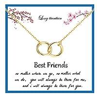 ベストフレンドネックレス 2つのインターロックサークルネックレス 女性用 友情ネックレス BFFギフトジュエリー
